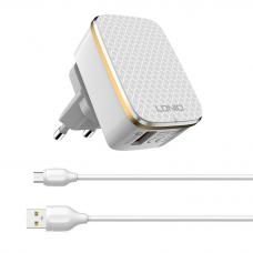 Kucni punjac LDNIO A1204Q Quick Charge 3.0 USB 5V 2.4A sa micro USB kablom beli