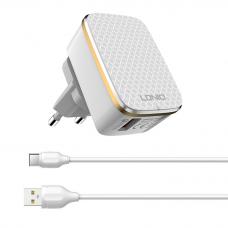 Kucni punjac LDNIO A1204Q Quick Charge 3.0 USB 5V 2.4A sa type C kablom beli