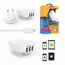 Kucni punjac LDNIO DL-AC65 3xUSB 5V 3.4A sa iPhone 6/6S kablom beli