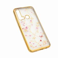 Futrola Pink Flower za Huawei P20 Lite 2019 zlatna