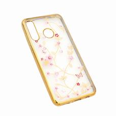 Futrola Pink Flower za Huawei P30 Lite zlatna