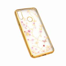 Futrola Pink Flower za Huawei Y6 2019/Honor 8A zlatna