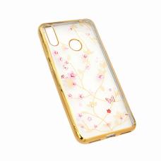 Futrola Pink Flower za Huawei Y7 2019/Y7 Prime 2019 zlatna
