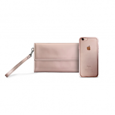 Futrola Puro Metal Duo za iPhone 6/6S + satenska torbica roze